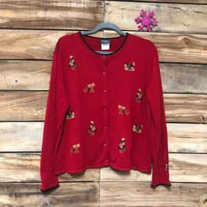 Ugly Christmas button up sweater embroidered
